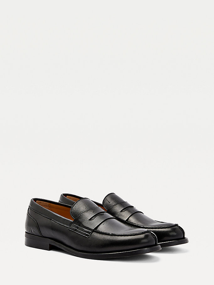 black signature logo leather loafers for men tommy hilfiger