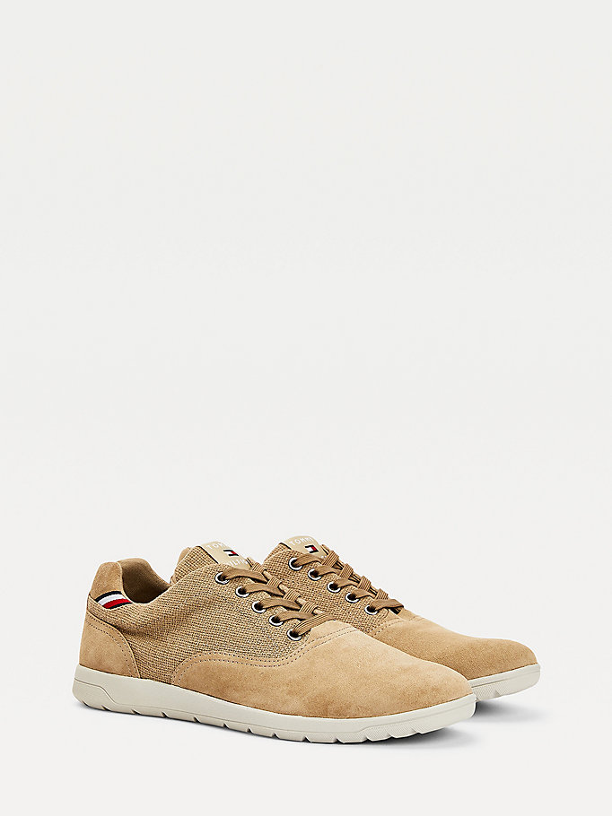 beige mixed texture hybrid shoes for men tommy hilfiger