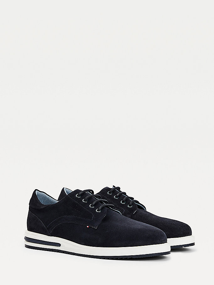 blue suede hybrid air derbys for men tommy hilfiger