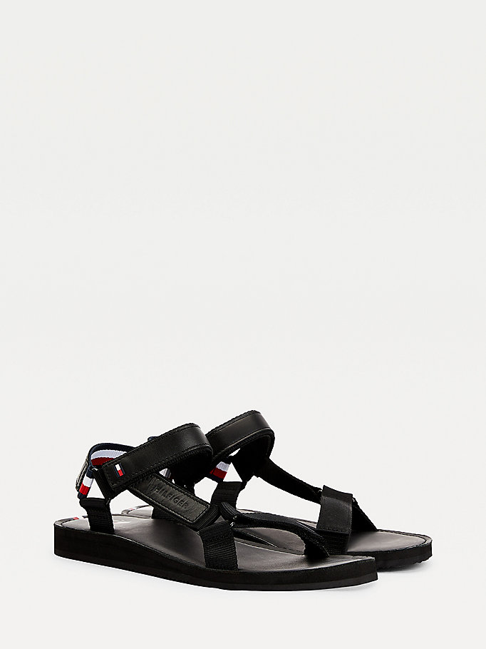 black signature strap sandals for men tommy hilfiger