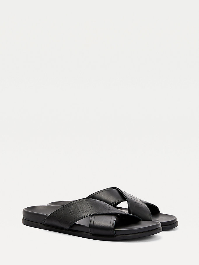 black elevated embossed sandals for men tommy hilfiger