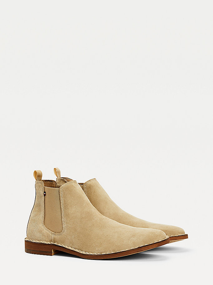 beige suede chelsea boots for men tommy hilfiger