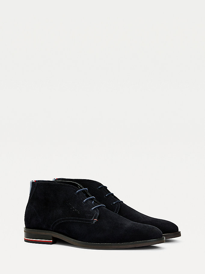 blau signature lace-up wildleder-boot für herren - tommy hilfiger