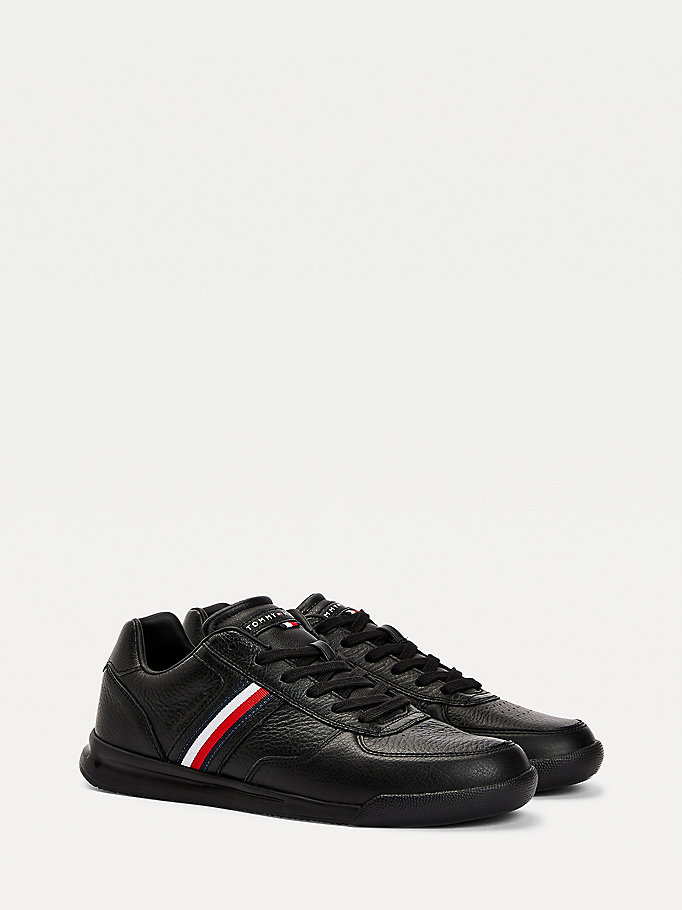 black lightweight leather flag trainers for men tommy hilfiger