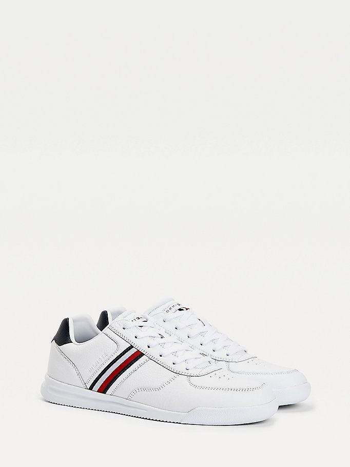 white lightweight leather flag trainers for men tommy hilfiger