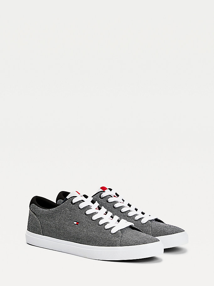 black essential chambray trainers for men tommy hilfiger