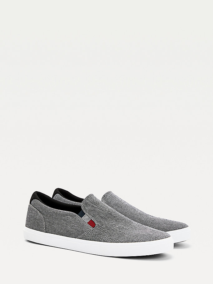 black essential chambray slip-on trainers for men tommy hilfiger