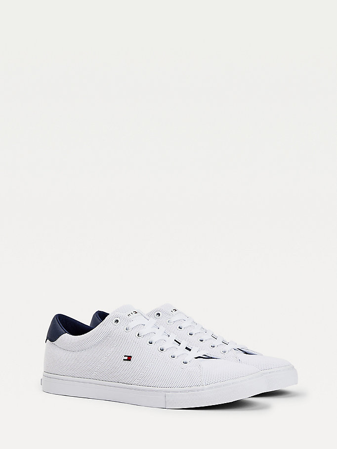 white essential recycled polyester knit trainers for men tommy hilfiger