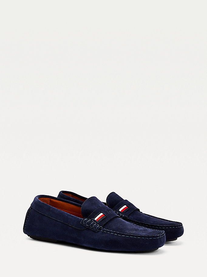 blue iconic suede driving shoes for men tommy hilfiger