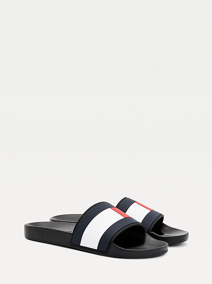 black essential slides for men tommy hilfiger