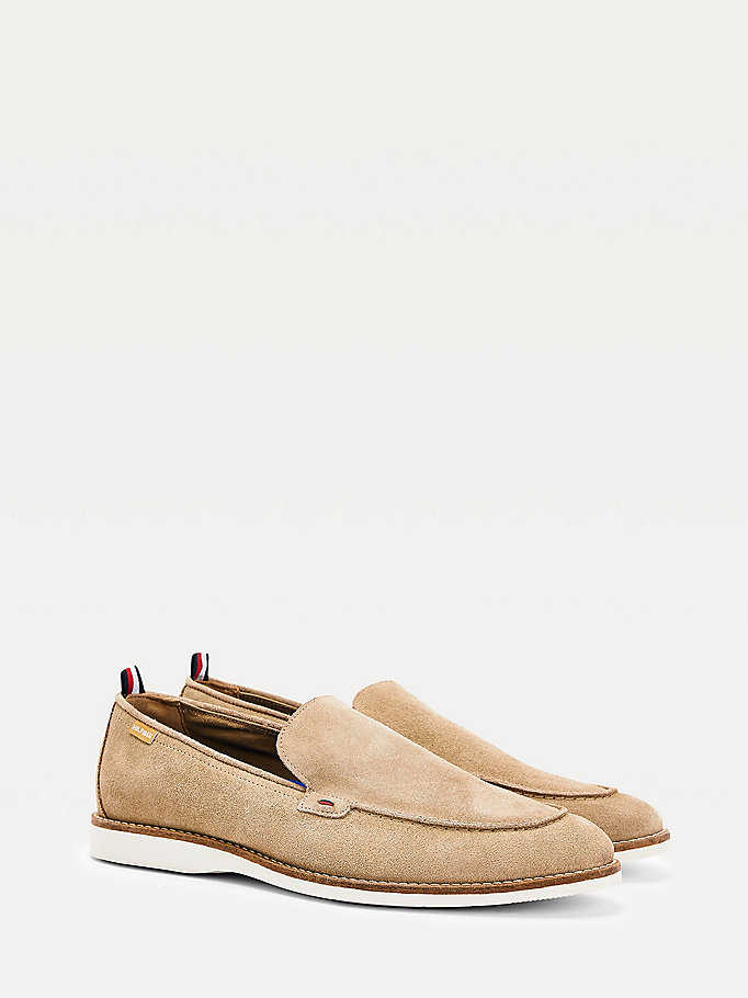 beige casual suede loafers for men tommy hilfiger