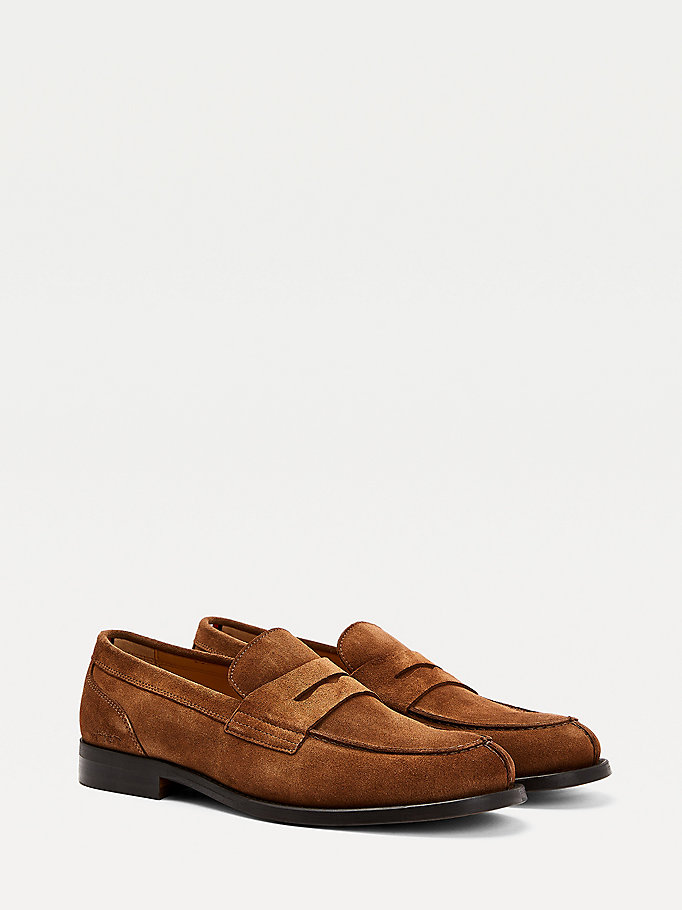 mocassins en daim premium marron pour men tommy hilfiger