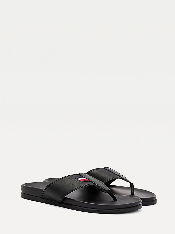 black leather footbed sandals for men tommy hilfiger