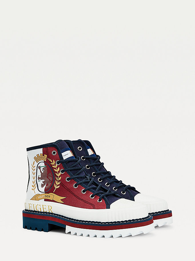 blue crest high-top trainers for men tommy hilfiger