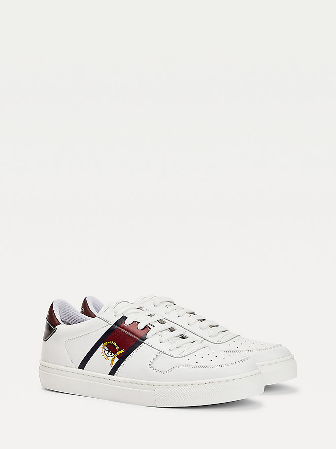 white low-top leather cupsole trainers for men tommy hilfiger
