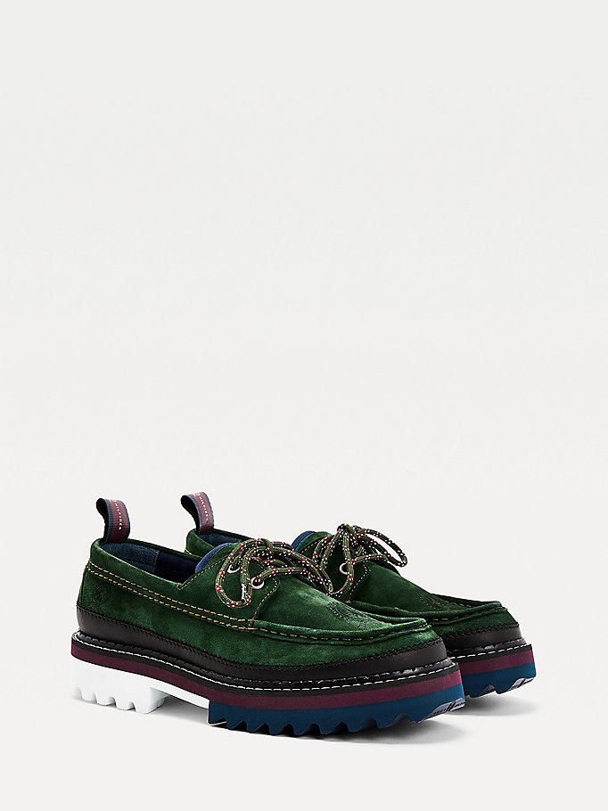 green crest suede boat shoes for men tommy hilfiger