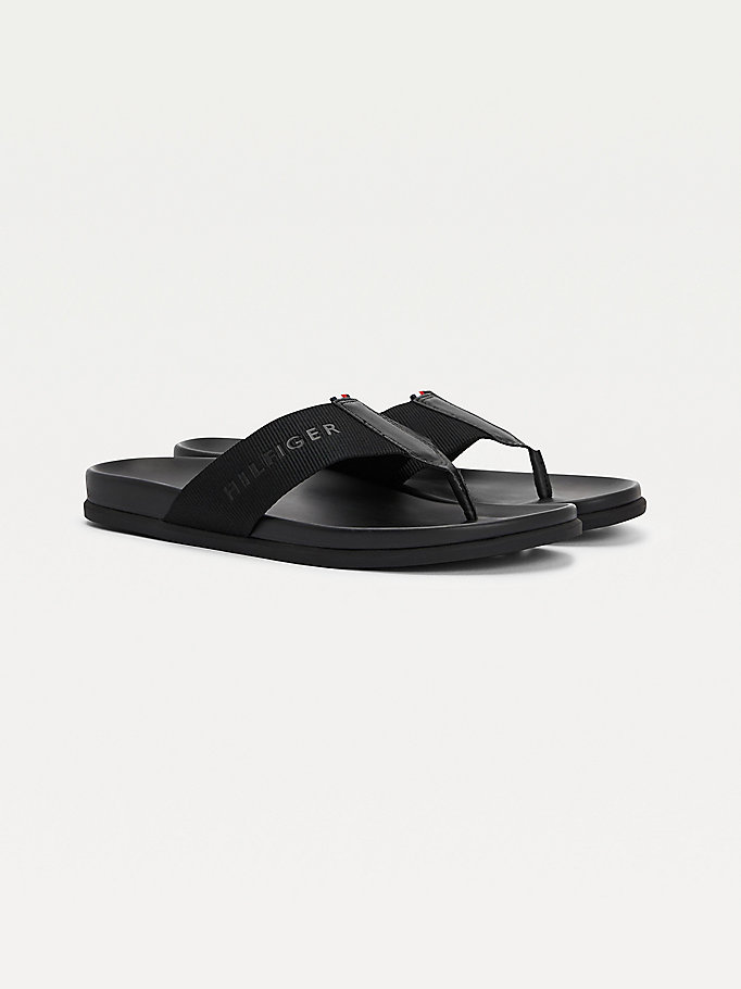 black rubberised logo webbing flip-flops for men tommy hilfiger