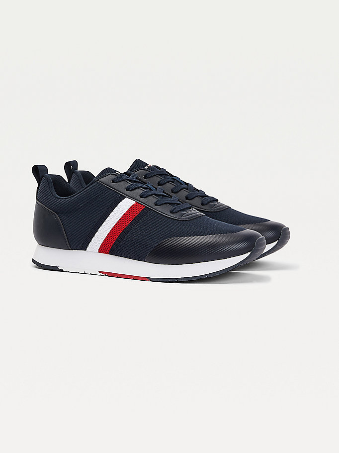 blue knit tape trainers for men tommy hilfiger