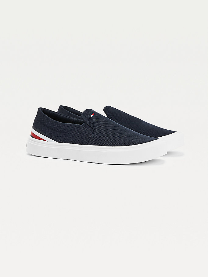 blue signature tape lightweight slip-on trainers for men tommy hilfiger