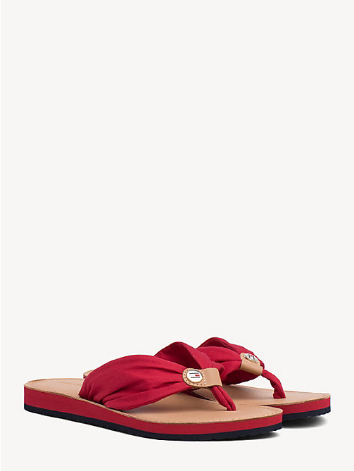 TOMMY HILFIGER Cotton Flip-Flops - TANGO RED - TOMMY HILFIGER Sandals - main image