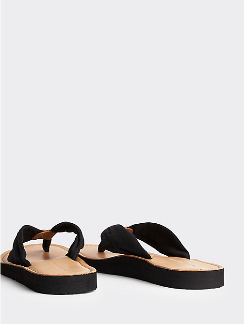 TOMMY HILFIGER Cotton Flip-Flops - BLACK - TOMMY HILFIGER Shoes - detail image 1