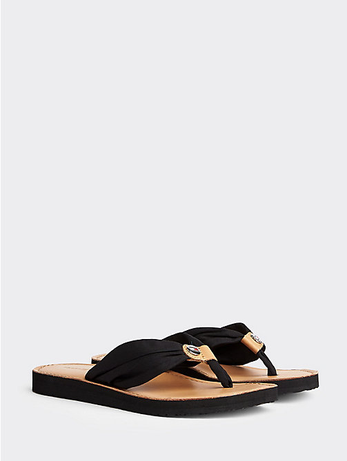 TOMMY HILFIGER Cotton Flip-Flops - BLACK - TOMMY HILFIGER Shoes - main image