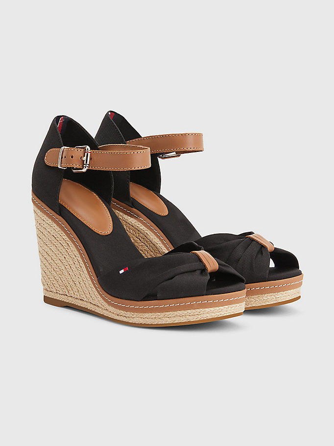 black iconic wedge open-toe espadrilles for women tommy hilfiger