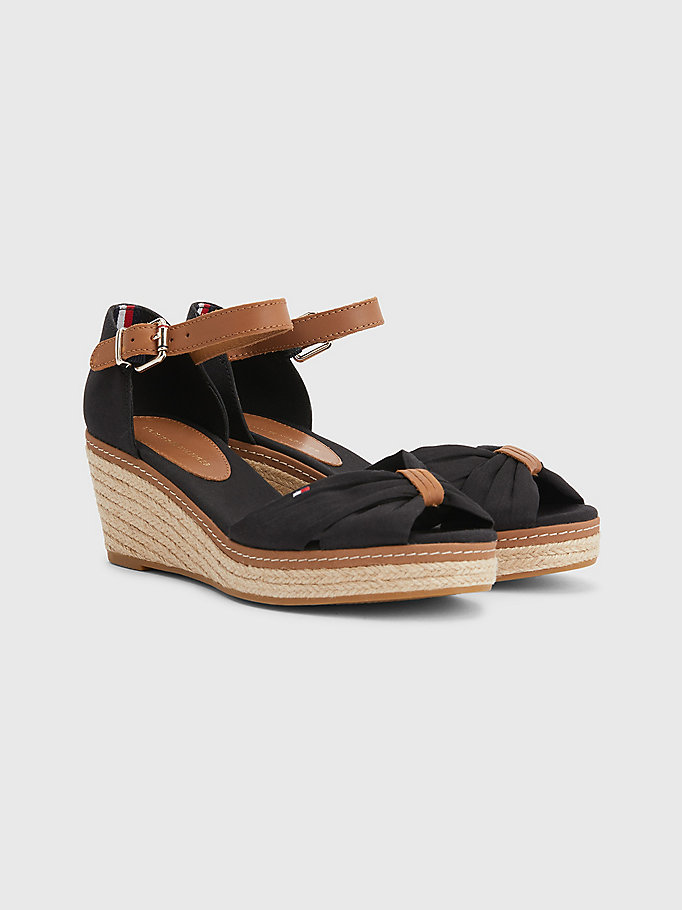 black iconic wedge espadrilles for women tommy hilfiger