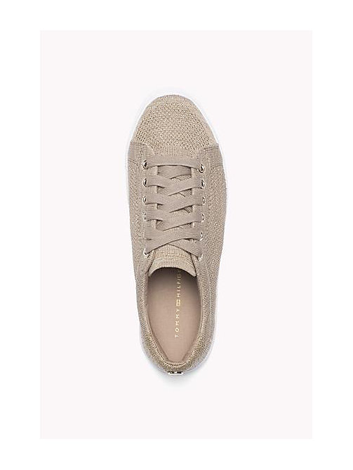 TOMMY HILFIGER Sparkly Knitted Sneaker - COBBLESTONE - TOMMY HILFIGER Shoes - detail image 1