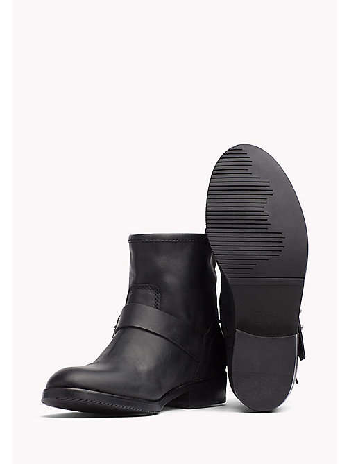 TOMMY JEANS Leather Ankle Boot - BLACK - TOMMY JEANS Shoes - detail image 1