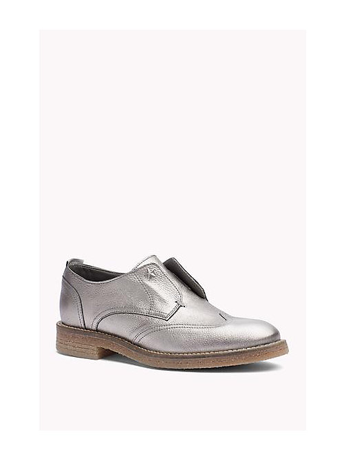 TOMMY HILFIGER Metallic Leather loafers - DARK SILVER - TOMMY HILFIGER Shoes - main image