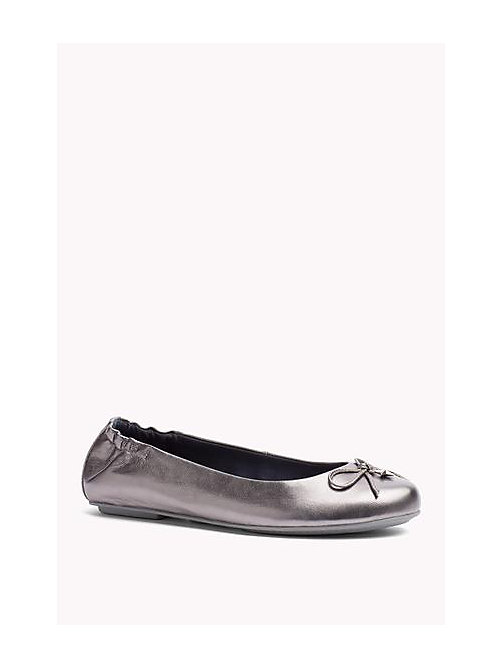 TOMMY HILFIGER Metallic Leather Ballerina - DARK SILVER - TOMMY HILFIGER Shoes - main image