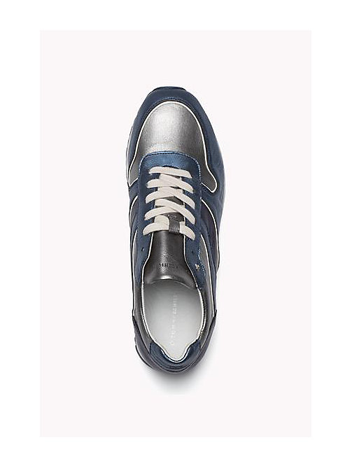 TOMMY HILFIGER Metallic Leather Sneaker - MIDNIGHT - DARK SILVER - JEANS - TOMMY HILFIGER Shoes - detail image 1