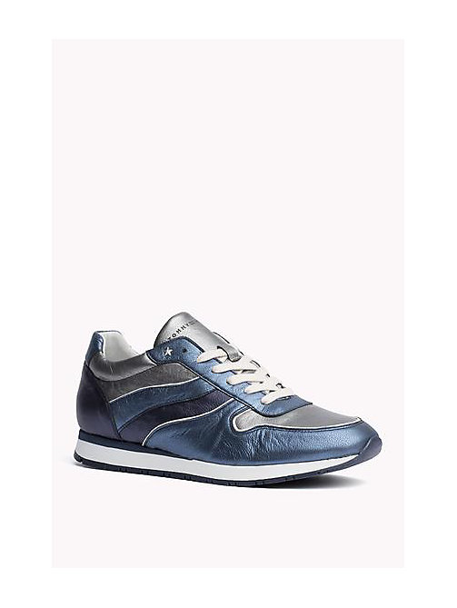 TOMMY HILFIGER Metallic Leather Sneaker - MIDNIGHT - DARK SILVER - JEANS - TOMMY HILFIGER Shoes - main image