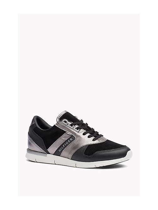 TOMMY HILFIGER Metallic Detail Suede Sneaker - BLACK - TOMMY HILFIGER Shoes - main image