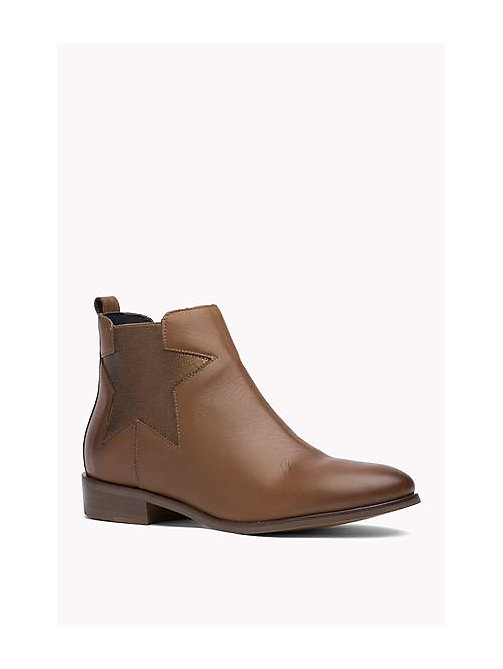 TOMMY HILFIGER Leather Ankle Boot - COGNAC - TOMMY HILFIGER Shoes - main image