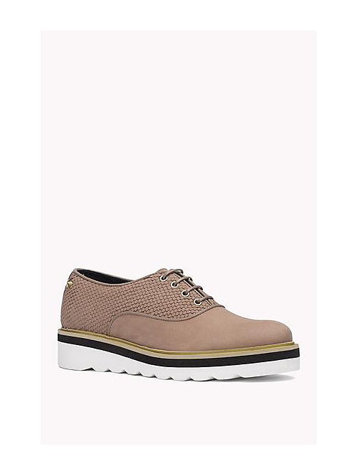 TOMMY HILFIGER Leather Lace-Up Shoe - DARK TAUPE - TOMMY HILFIGER Shoes - main image