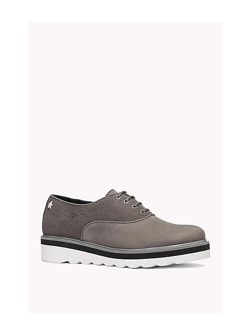 TOMMY HILFIGER Leather Lace-Up Shoe - URBAN GREY - TOMMY HILFIGER Shoes - main image