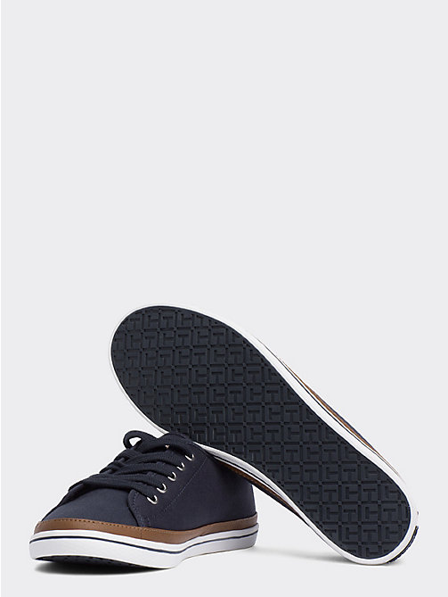 TOMMY HILFIGER Contrast Detail Canvas Trainer - MIDNIGHT - TOMMY HILFIGER Trainers - detail image 1