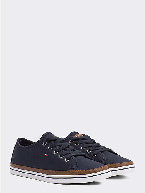 TOMMY HILFIGER Contrast Detail Canvas Trainer - MIDNIGHT - TOMMY HILFIGER Trainers - main image
