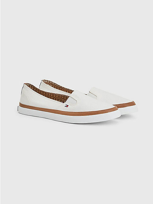 TOMMY HILFIGER Contrast Trim Slip-On Trainers - WHISPER WHITE - TOMMY HILFIGER Best Sellers - main image