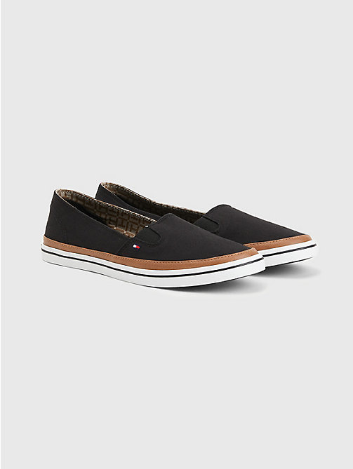 TOMMY HILFIGER Contrast Trim Slip-On Trainers - BLACK - TOMMY HILFIGER Sneakers - main image