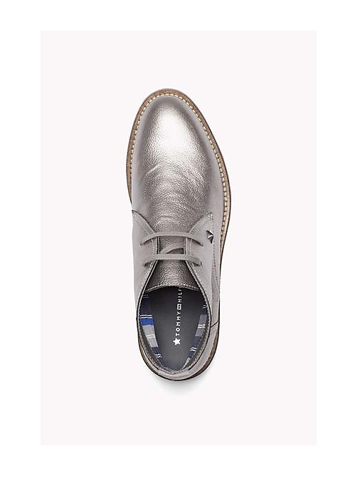 TOMMY HILFIGER Metallic Leather Ankle Boot - DARK SILVER - TOMMY HILFIGER Shoes - detail image 1