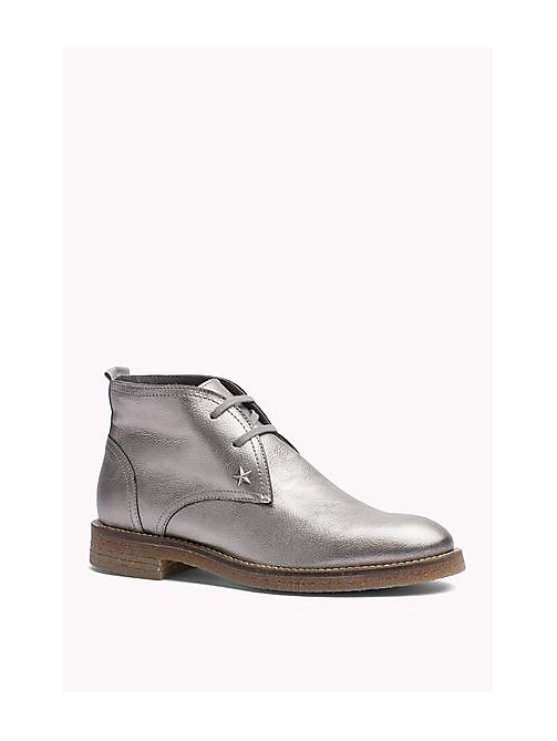 TOMMY HILFIGER Metallic Leather Ankle Boot - DARK SILVER - TOMMY HILFIGER Shoes - main image