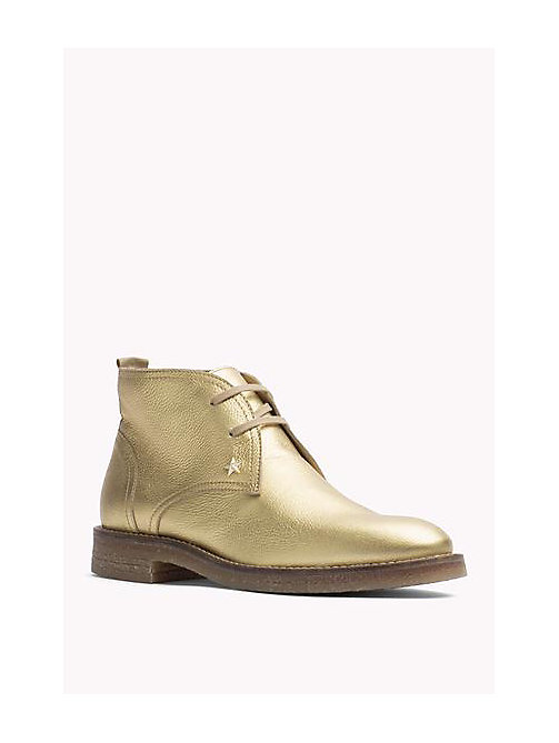 TOMMY HILFIGER Metallic Leather Ankle Boot - LIGHT GOLD - TOMMY HILFIGER Shoes - main image