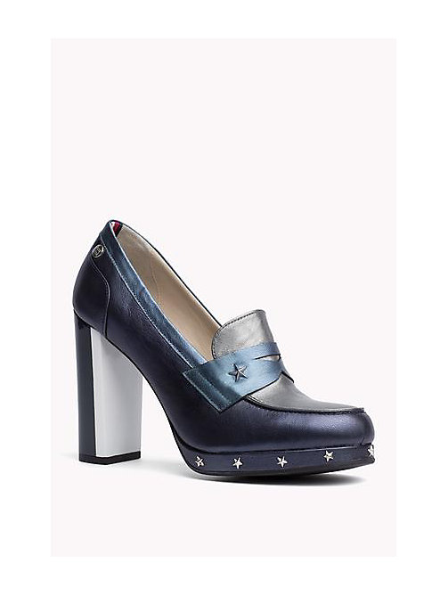 TOMMY HILFIGER Two-Tone Leather Pumps - MIDNIGHT - TOMMY HILFIGER Shoes - main image