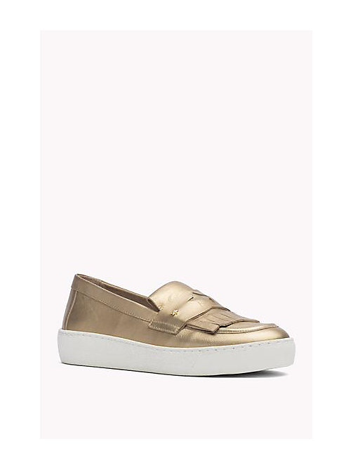 TOMMY HILFIGER Metallic Leather loafers - LIGHT GOLD - TOMMY HILFIGER Shoes - main image