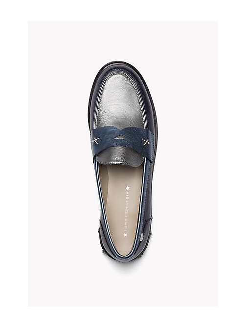 TOMMY HILFIGER Two-Tone Leather Loafers - MIDNIGHT - TOMMY HILFIGER Shoes - detail image 1