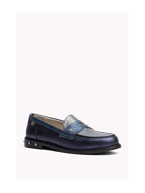 TOMMY HILFIGER Two-Tone Leather Loafers - MIDNIGHT - TOMMY HILFIGER Shoes - main image