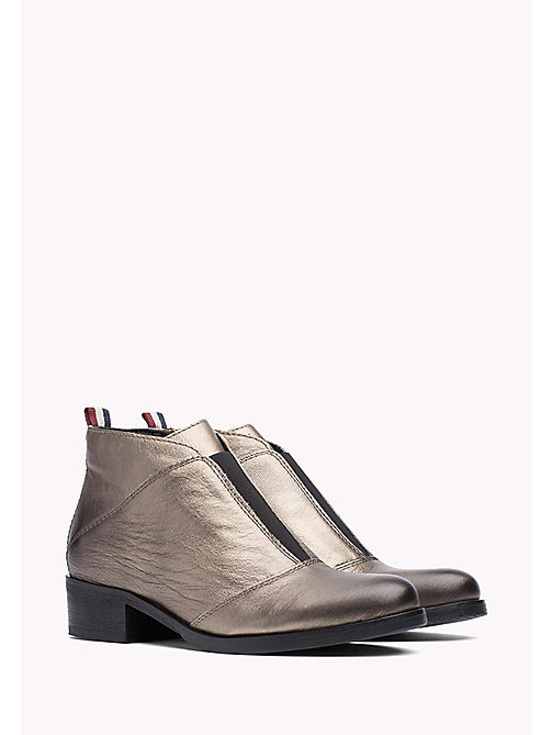 Metallic Leather Ankle Boot - DARK GOLD - TOMMY JEANS Shoes - main image